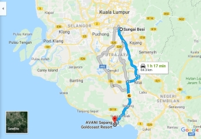 2018-10-15 15_55-Sungai Besi to AVANI Sepang Goldcoast Resort - Google Maps - Internet Explorer